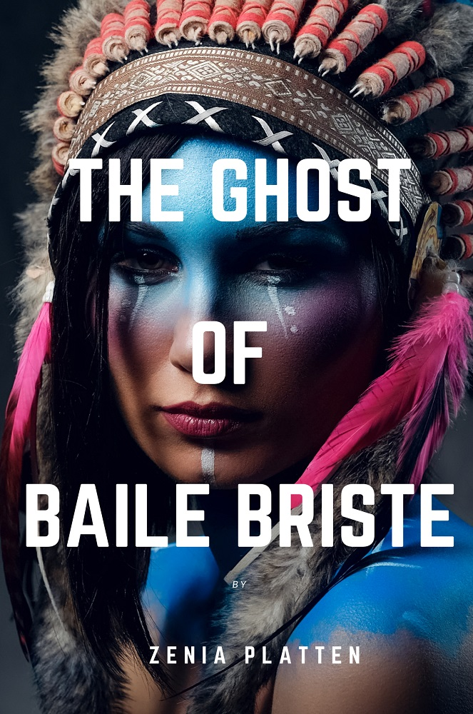 Ghost of Baile Briste - Working Cover. Lady in blue paint with feathers.